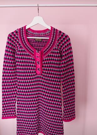 Платье свитер розовое в ромбы