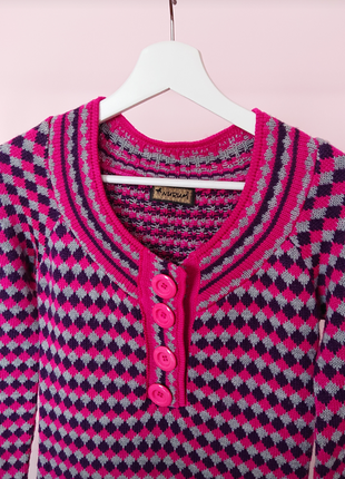 Платье свитер розовое в ромбы5 фото