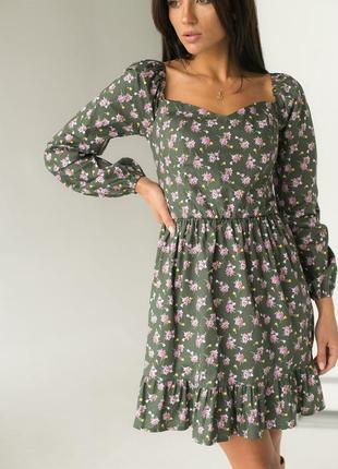 Элегантное платье в цветок квадратный вырез оборка рукав на резинке