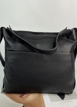 Женская кожаная сумка через на плечо большая polina & eiterou жіноча шкіряна