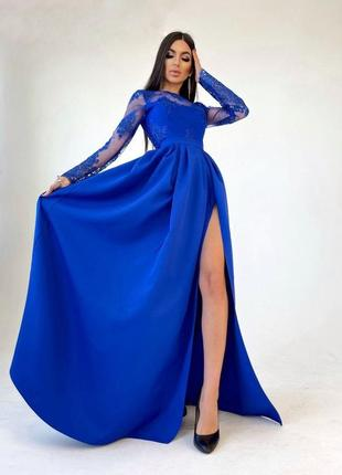 Платье макси синее кружевное кружево с разрезом