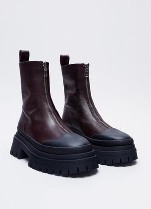 Стильные ботиночки zara, натуральная кожа, новые, 38