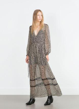 Платье с кружевом принт мелкий цветок zara