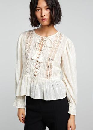 Блуза zara блузка вышивкой топ прошва белая  длинным рукавом хлопковая вышиванка