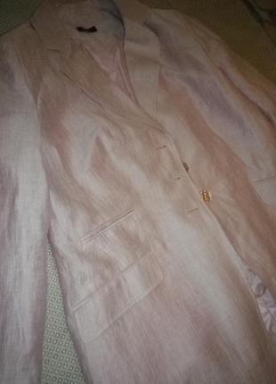 Длинный льняной жакет блейзер пастельно-розового цвета германия