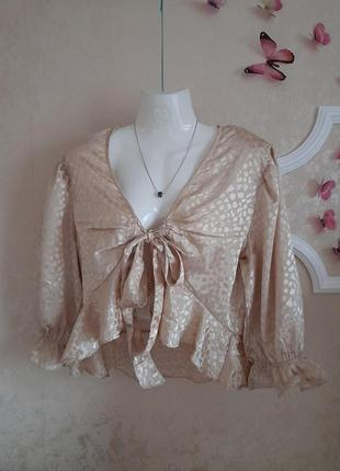 Новая блузка цвета шампанского с завязкой спереди qed london топ блуза
