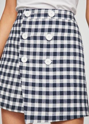 Мини юбка mango  во французскую клеточку виши , вискоза+хлопок