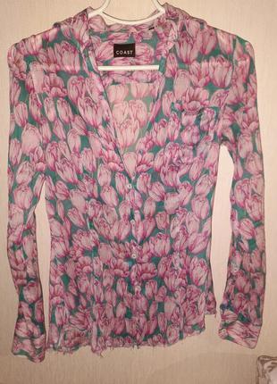 Рубашка блузка накидка пляжная coast 40 размер легкая летняя воздушная