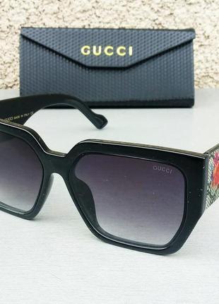 Gucci очки женские солнцезащитные большие черные с цветами на дужках