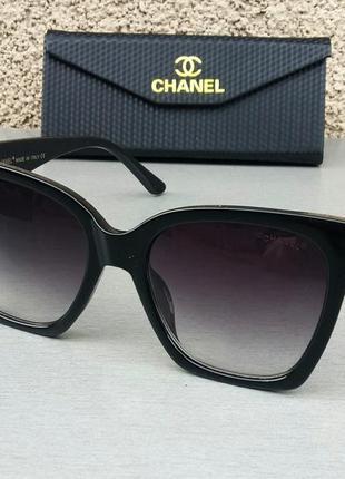 Chanel очки женские солнцезащитные большие черные с градиентом