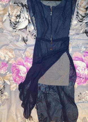 Стильное платье - сарафан из шифона на лето.