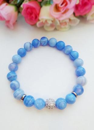 ⚜️💙нежный браслет из голубого агата (сапфирин)💙⚜️