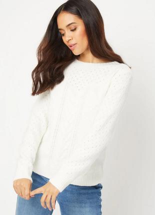 Вязанный кружевной кремовый свитер-джемпер женский george