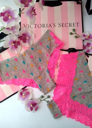 Безшевные трусики с кружевом victoria's secret original s m