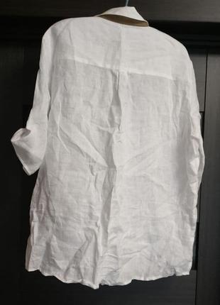 Рубашка белая льняная, в этно бохо стиль р 46 arido