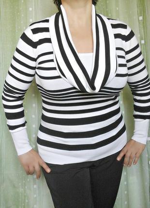 Полосатый свитер с хомутом, 78% вискозы