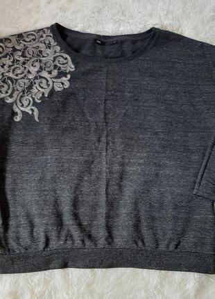 Красивая меланжевая кофта свитер джемпер с вышивкой оверсайз oversize