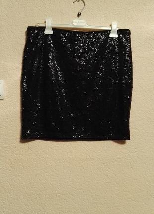 Женская мини юбка футляр с паетками черная,размер l 48-50 размер от h&m