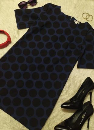 Стильное платье трапеция в горошек