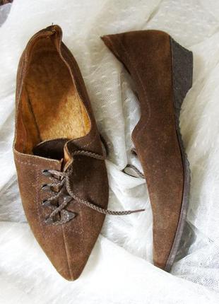 Туфли натуральный замш и мех