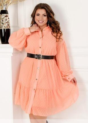 Шифоновое платье в горошек размеры 42,44,46,48,50,52,54,56,58,60 (8634)