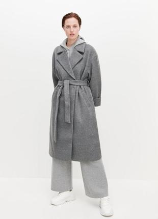 Крутое пальто кимоно reserved серое оверсайз халат плащ