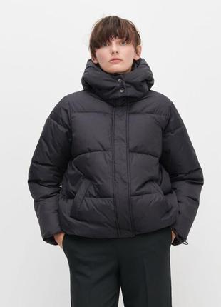 Шикарная куртка пуффер reserved черная дутая оверсайз объемная курточка