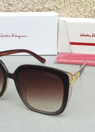 Salvatore ferragamo очки женские солнцезащитные модные большие коричневые с градиентом