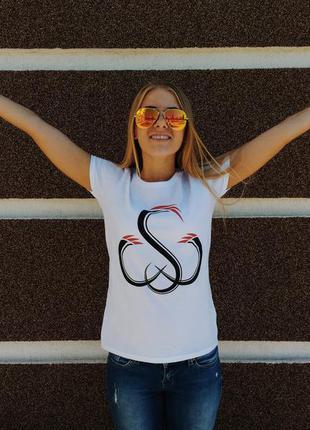 Стильная белая женская футболка sw 100% хлопок размер s