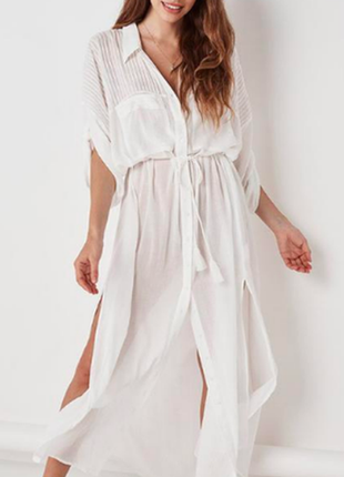 Белая пляжная туника, длинная платье-рубашка из хлопка под пояс