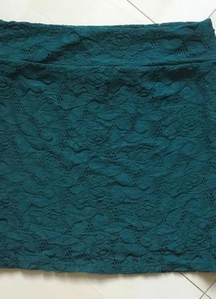 Классная юбочка изумрудного цвета,размер л или 12 -14