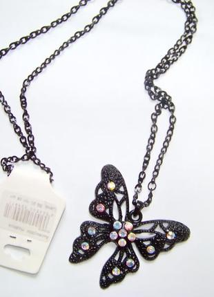 Подвеска-бабочка  с кристаллами хрусталя украшение для сумки или рюкзака