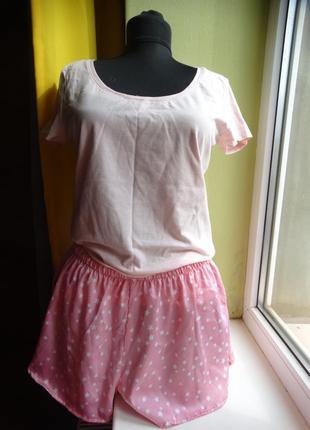 Комплект для дома пижама хлопковая футболка h&m шортики missguided m-l/46-48
