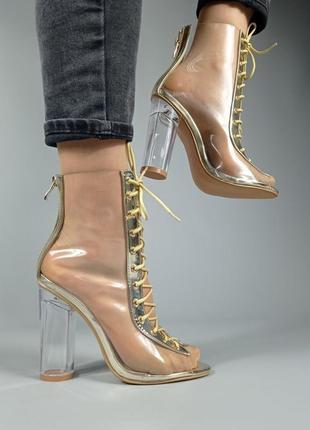 K1200-13 туфли прозрачные на каблуке на шнуровке на молнии весна лето