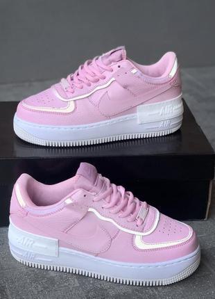Nike air force 1 shadow pink/white светоотражающие рефлективные розовые кроссовки