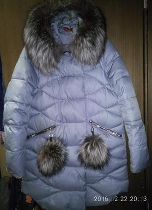 Пуховик, зимняя куртка chanevia с натуральным мехом чернобурки
