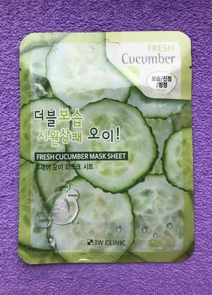 Тканевая маска с огурцом 3w clinic fresh cucumber mask sheet, новый дизайн упаковки