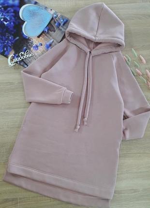 Платье миди - худи женское , утепленное