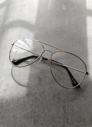 Имиджевые очки капельки h&m без диоптрий в золотой оправе