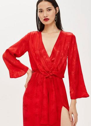 💔 элегантное красное платье миди в змеиный принт с разрезом topshop размер xs/s