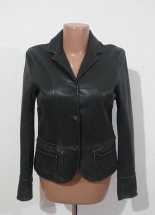 Кожаный жакет куртка на кнопках италия