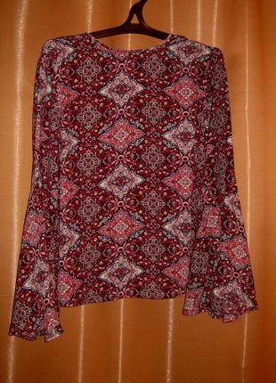 Шикарная нарядная блузка бохо с рукавами клеш,primark, км0925