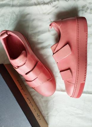 40 goldmud женские кожаные  кроссовки розовые на липучках шкіряні кросівки рожеві