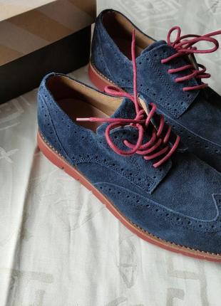 41 мужские брогги  туфли классические замшевые чоловічі замшеві туфлі оксфорди лоферы