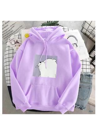 Женское худи с мишкой сиреневое-фиолетовое oversize оверсайз сиреневая кофта-толстовка