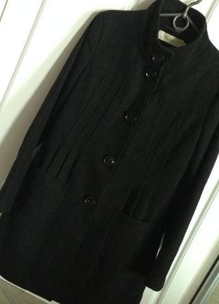 Стильное черное пальто полупальто шерсть sela