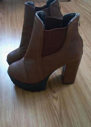 Ботинки женские, ботинки на тракторной подошве
