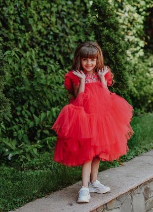 Детское нарядное платье на выпускной  красное мия 2