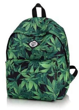Черный зеленый рюкзак в листьях школьный рюкзак портфель конопля
