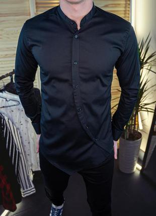 Мужская рубашка черная без ворота\ 8 цветов в наличии